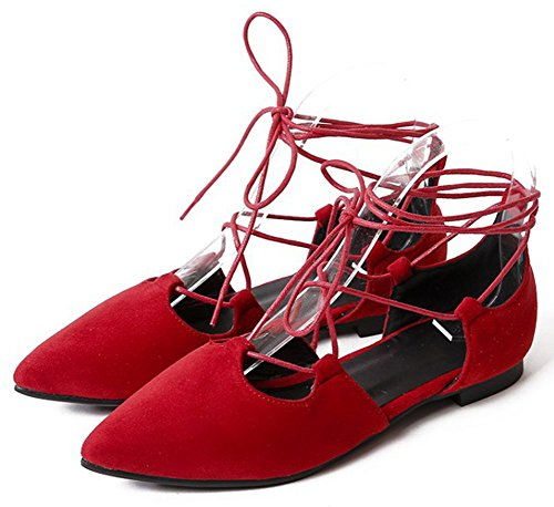 Easemax Womens Trendy Faux Suede Pointed Toe Flat Self Tie Ankle Wrap Gladiator Sandals Red ILSE8o