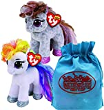 Ty Beanie Boos Ponies Starr & Cinnamon Gift Set Bundle Includes Bonus Matty's Toy Stop Storage Bag - 2 Pack