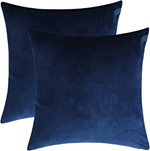 """Rythome Set of 2 Comfortable Throw Pillow Cover for Bedding, Decorative Accent Cushion Sham Case for Couch Sofa, Soft Solid Velvet with Zipper Hidden - 20""""x20"""", Prussian Blue"""