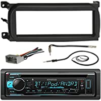 Kenwood KDCBT31 Bluetooth CD Car Stereo Audio Receiver - Bundle Combo W/ Metra Dash Kit For 1998-Up Chrysler/Dodge/Jeep Vehicles + Antenna Adapter Cable + Radio Wiring Harness + Enrock Antenna