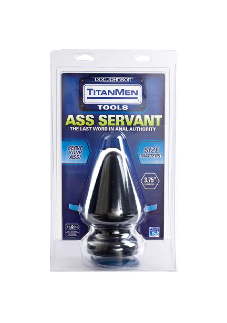Doc Johnson Titanmen - Ass Servant - Massive Anal Plug - For Experienced Players - Traditional Shape - 3.7 Inch Width - Anal Toy - Black by Doc Johnson (Image #2)