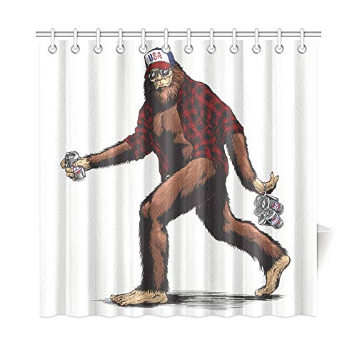 VNASKL Home Decor Shower Curtain Walking USA American Hillbilly Sasquatch Polyester Fabric Waterproof Bathroom Privacy Curtain for Bathroom 7272 Inch with Hooks ()
