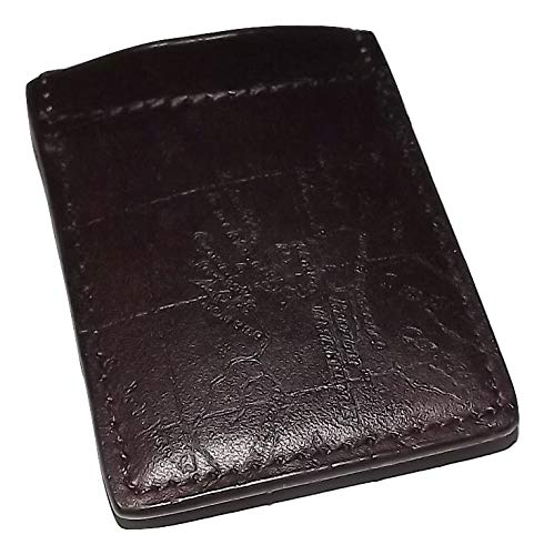 Patricia Nash Mens Leather Vintage Map RFID Protected Money Clip Wallet Rust