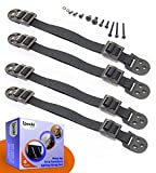 Heavy Duty Anti-Tip Furniture Straps Set for Child Proofing (4 Pieces) by Boxiki Kids. Adjustable Home Safety TV Wall Anchor and Earthquake Tipping Restraint Straps. (Black)
