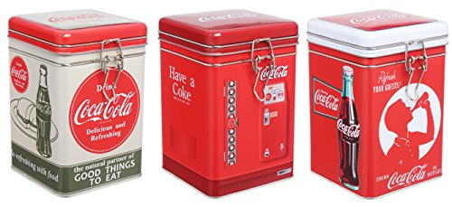 Set of 3 Tin Box Co Coca Cola Lock-Top Tin Containers