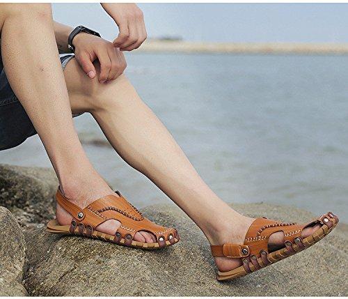 Pattini respirabili delle scarpe da spiaggia delle donne dei sandali della fibra dei nuovi uomini Uomini di tempo liberi dei pattini dei pattini degli uomini Uso doppio, marrone, UK = 6, EU = 39