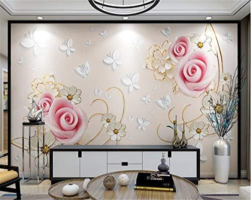Custom Mural Mural 3D American Style Wallpaper Rose Butterfly Vine Formal TV Background Wall Mural Cchpfcc-150X370CM