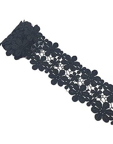 Yalulu 2 Yards Vintage DIY algodón Spitzenband Negro Spitzenborte Punta naehen Tarjetas Tagebuch Scrapbooking Geschenkbox Bodas