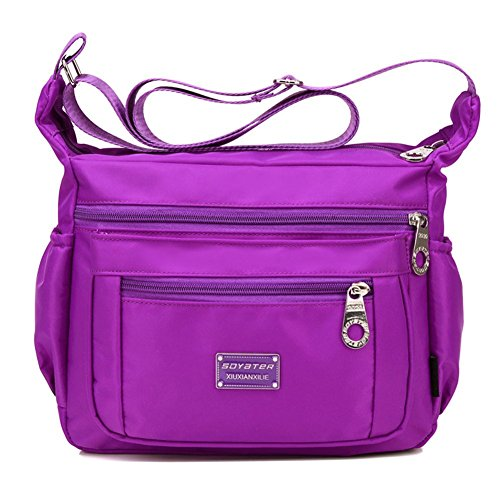 Soyater Nylon Crossbody Handbag With Pockets, Purple ()