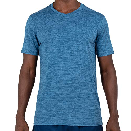 Alive Men's Tee Shirt Active Quick Dry Workout Short Sleeve Shirts Crew Neck (Medium, Uniform Blue Heather)
