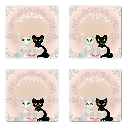 Animals Coaster Set of Four by Lunarable, Cat Holding Hearts Bowknot Eyes Background with Flowers Leaves Medallion Art, Square Hardboard Gloss Coasters for Drinks, Peach Black - With Designer And Heart Eyes