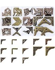 Mandala Crafts Antique Brass Metal Book Corners – Decorative Book Corner Protectors Metal Edge Guard Cover Kit for Scrapbooking Photo Albums Menus Notebooks Folders 60 PCs 13 Styles