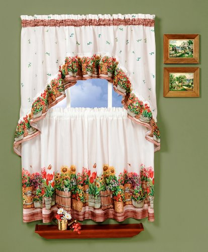 Achim Home Furnishings Country Garden Tier and Swag Set, 57-Inch by 24-Inch, (Garden Kitchen Curtain)