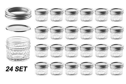 Nellam Quilted Glass Jars with Lids - 4 OZ Wide Mouth Crystal Jelly Glasses, Set of 24 Silver, for Canning, Preserving Food - each Mini Mason Jar is Freezer, Microwave, and Oven Proof (Oven Safe Mason Jars)