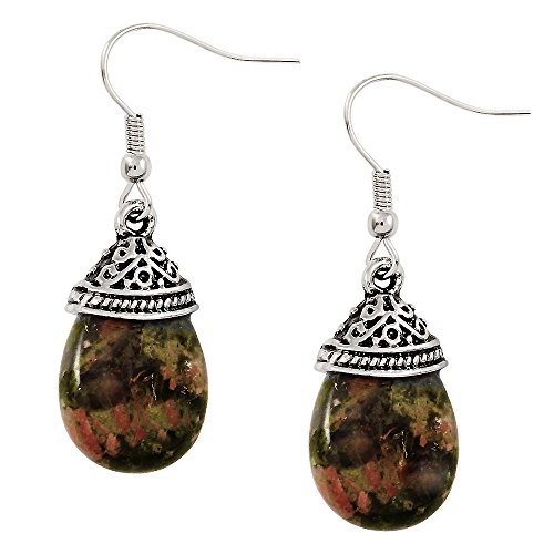 Falari Natural Stone Tear Drop Earring Unakite (Hook Unakite Earrings)