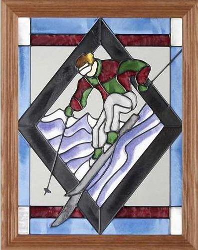 """Sports ~ Skier 13.5"""" Wide x 16.5"""" High Hand Painted Art Glass Panel"""