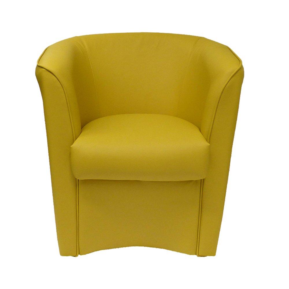 Poltrona giallo zafferano in ecopelle per cucina sala da pranzo ufficio camera cameretta Poltrone design