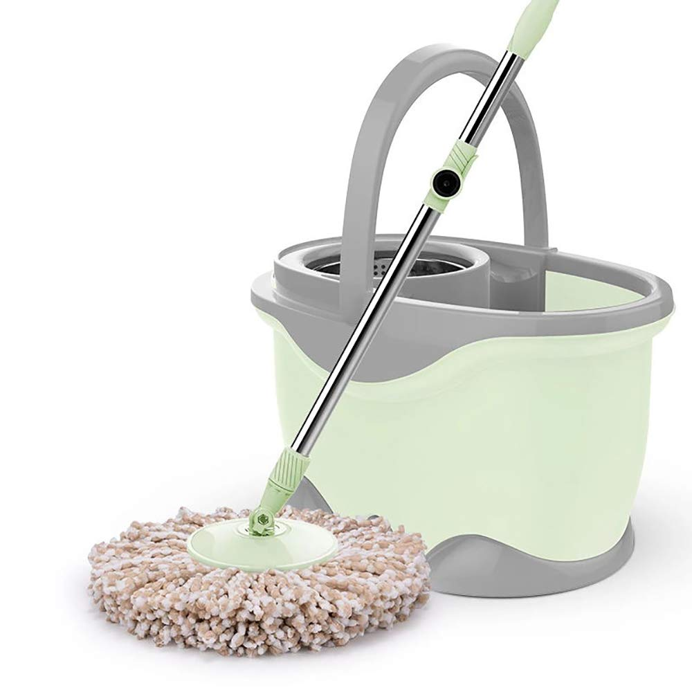 QETU Microfiber Spin Mop,360° Spin Bucket System Mop with Extended Length Handle Stainless Steel Basket Floor Cleaning System,Green