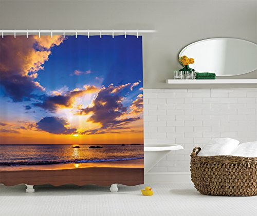 Ambesonne Seaside Decor Collection, Colorful Sunset Reflection over Ocean Evening Horizon Romantic Scenery Picture, Polyester Fabric Bathroom Shower Curtain, 75 Inches Long, Yellow Blue Ivory