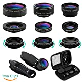 iPhone Lens, Cell Phone Lens Kit 11-in-1,Super Wide Angle Lens+Super Macro Lens+Fisheye Lens+Starburst+CPL +Kaleidoscope+Telephoto Lens for iPhone X/8/7/6s/6 Plus, Samsung, Android Smartphones