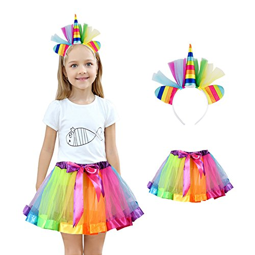 Homelix Little Girls Layered Rainbow Tutu Skirts with Unicorn Horn Headband -