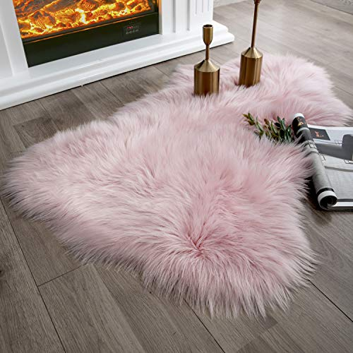 (Ashler Soft Faux Sheepskin Fur Chair Couch Cover Pink Area Rug for Bedroom Floor Sofa Living Room 2 x 3 Feet)