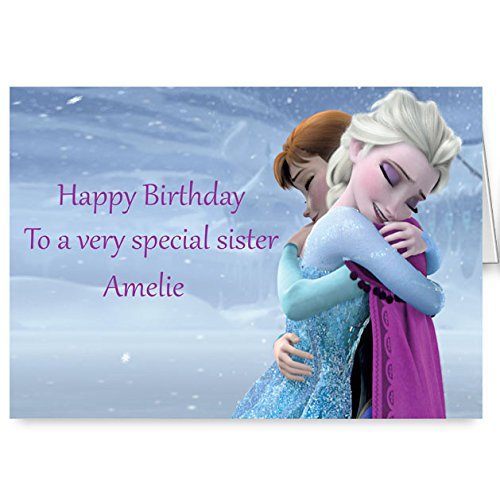 Disney Frozen Personalised Sister Birthday Card Amazon