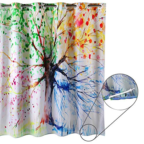 - ZSZT Ringless Shower Curtain, Built-in Eyelets Design for Flexible Installation, Waterproof Polyester Fabric (180 X 180cm 71 X 71 inch)