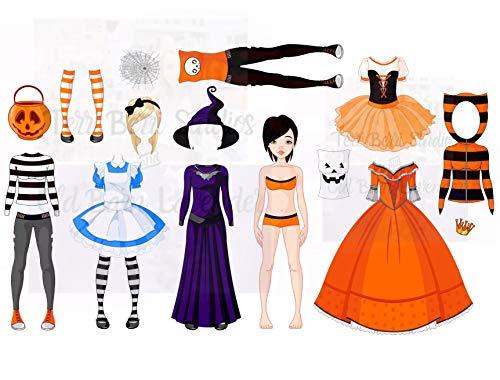 Paper Doll Clipart, Set 1, Halloween, Clip Art Printed Sheet