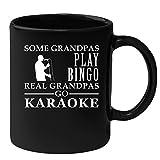 Granpa Gift Black Mug 11oz Some Grandpas play bingo, real Grandpas go Karaoke