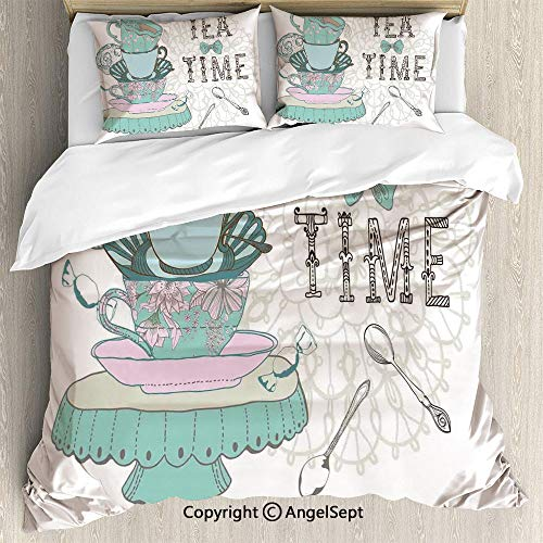 SfeatruAngel Bedding 3-Piece Set Duvet Cover Set,Vintage Style Tea Time Party Print Home Cafe Design Floral Classic Cup Collection,King Size,1 Quilt Cover 2 Pillow Shams,White Turquoise