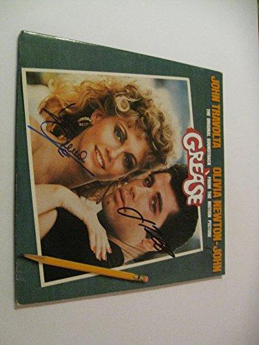 Autographed Record - John Travolta, Olivia-Newton John autographed Signed Grease soundtrack vinyl LP Record COA