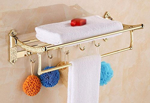 GGHYYO Towel shelf shower room kitchen Shelf Foldable Holder Gold Color Carved Flowers