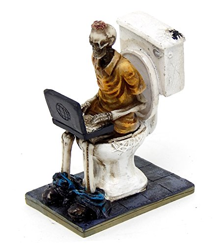 Bella 26706 Funny Skeletons Statue Workaholic Geek Laptop Toilet]()