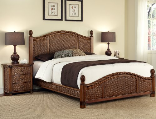 Home Styles Marco Island Queen Bed and Night (Panel Footboard Nightstand Set)