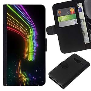 Rayos Rainbow Negro señora Woman Chica- la tarjeta de Crédito Slots PU Funda de cuero Monedero caso cubierta de piel Para Samsung Galaxy Core Prime