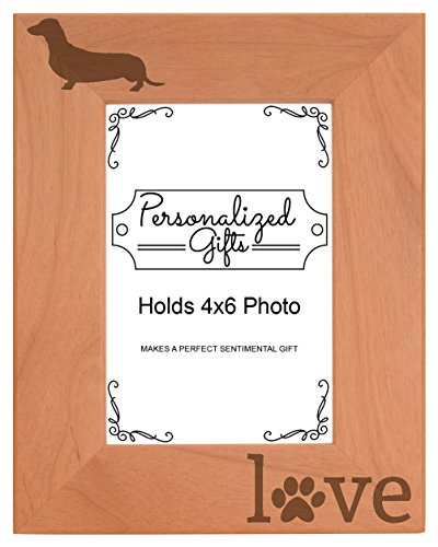 Dachshund Gifts Love Paw Prints Dog Owner Natural Wood Engraved 4x6 Portrait Picture Frame Wood