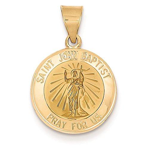14K Yellow Gold Saint John The Baptist Round Medal Charm Pendant