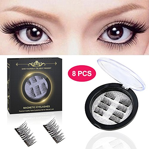 Magnetic Eyelashes -Pack of 8 pcs, Magnetic False Eyelashes for Women, False Eyelashes Set for Natural Look, Ultra Thin 3D Fiber Reusable Fake Eyelashes Extension (Black) by Haphome