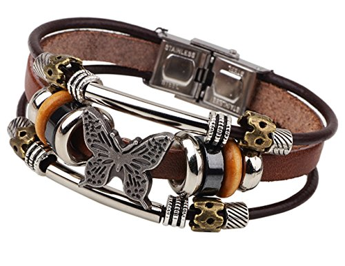 - LNKRE JEWELRY Charms Triple Strand Bali Beads Leather Pendants Bracelets A2