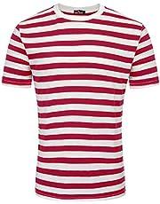 PAUL JONES Men's Basic Striped T-Shirt Crew Neck Cotton Shirt