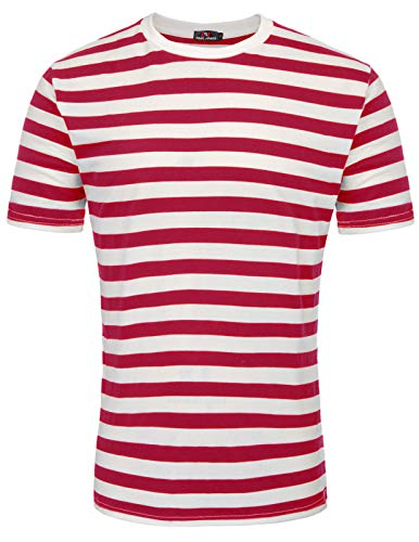 Men's Cotton Round Neck Casual Long Sleeves Stripe T-Shirt Red, Size L