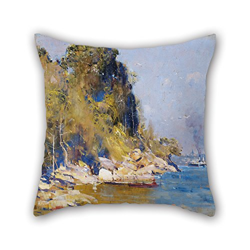 [The Oil Painting Arthur Streeton - From My Camp (Sirius Cove) Cushion Cases Of ,18 X 18 Inches / 45 By 45 Cm Decoration,gift For Christmas,dinning Room,her,bf,gf,drawing Room (double] (In N Out Burger Halloween Costume)