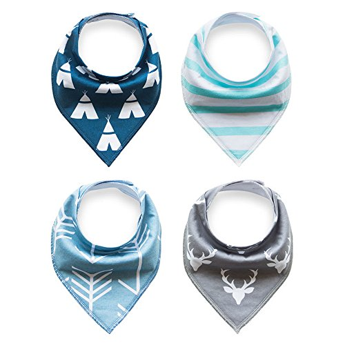 4-Pack Unisex Baby Toddlers Bandana Drool Bibs with Snaps 100% Soft Organic Cotton Unique Shower Gift Set Super Absorbent for Teething Feeding Fashion Adjustable (R)