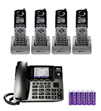 RCA U1000 Unison 4-Line Expandable Phone System - Full-Duplex Speakerphone Bundle with RCA U1200 DECT 6.0 Cordless Accessory Handsets (4-Pack) and 6 Blucoil AAA Batteries