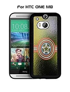 Marvel Comics Captain America Logo HTC One M8 Funda Case - Rugged Funda Case & Cover {Extra Thin} +{Unique Pattern} Anti Scratch High Impact Funda Case for HTC One M8