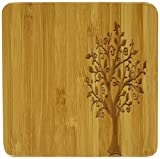 Trademark Innovations Bamboo Coaster with Tree Design (Set of 4), 4""