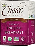 Choice Organic Teas Black Tea, English Breakfast, 16 Count, Pack of 6