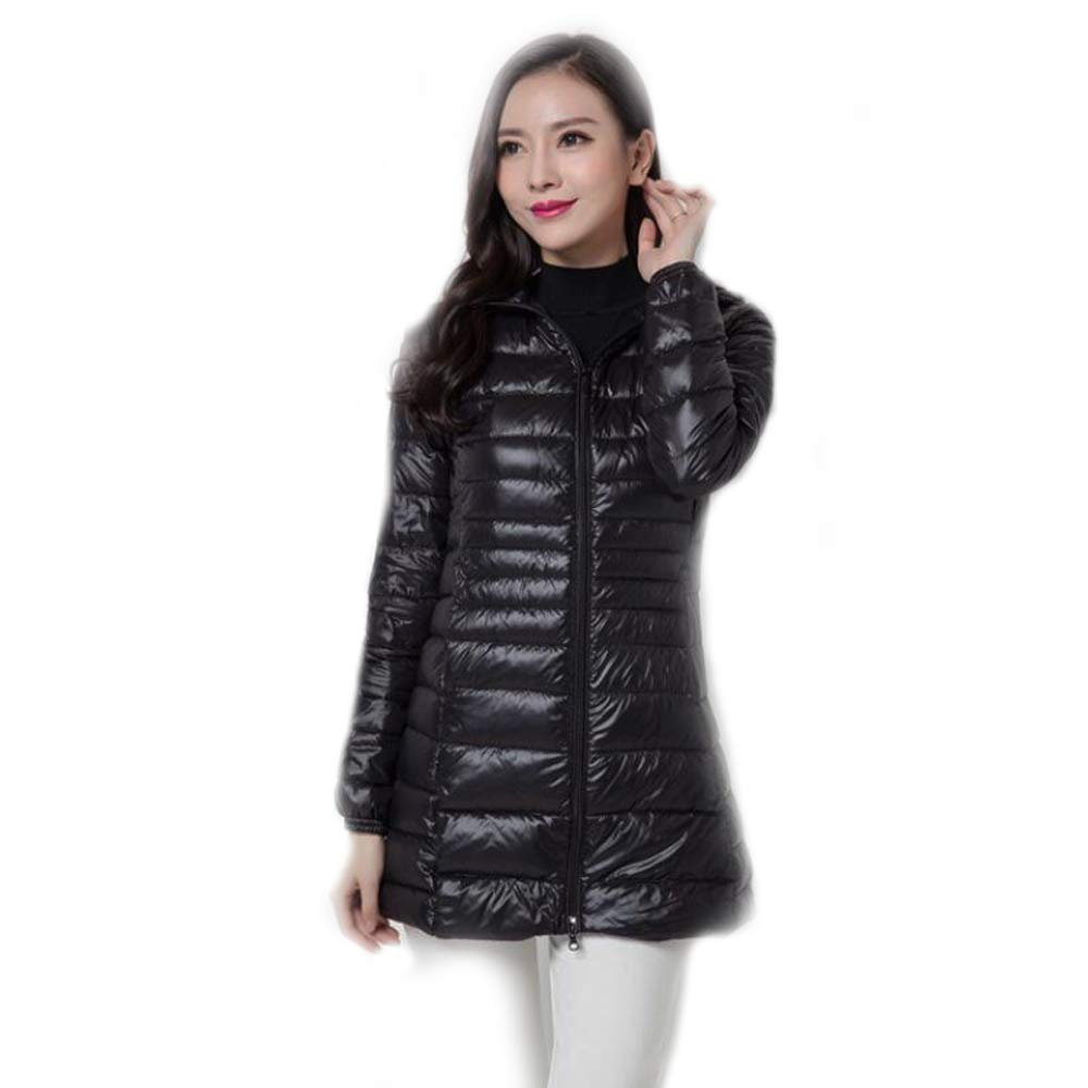 Black Women's Long Jacket Coat,Winter Overcoat Womens Hooded Ultra Light Down Jacket Slim Solid Long Down Jacket Female Feather Down Portable Parkas,Black,7XL
