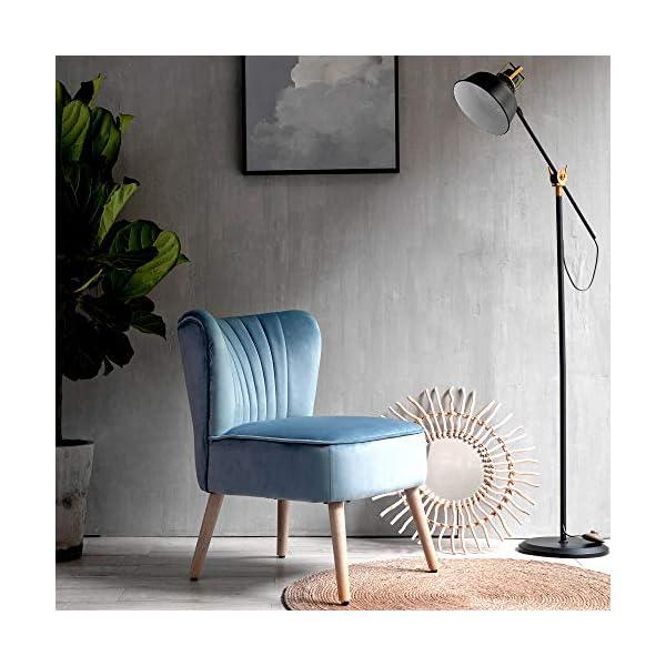 Laxllent Fauteuil Salon,57 x 68 x76cm,Surface en Velours,Pieds en Bois,Montage Facile, pour Appartement,Chambre